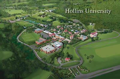 Campus Maps Drawing - Hollins University by Rhett and Sherry  Erb