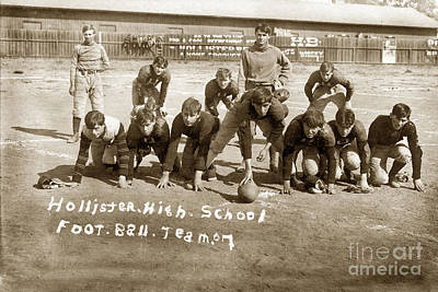 Photograph - Hollister High School Football Team 1907 by California Views Mr Pat Hathaway Archives