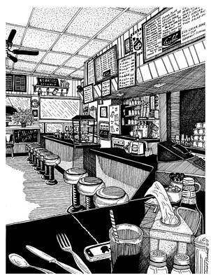 Stools And Counter Drawing - Holliston Grill by Conor Plunkett