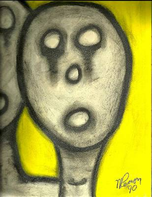 Drawing - Hollow Men - Not Us by Mario Perron