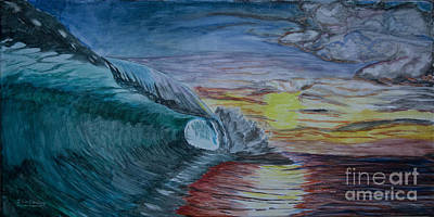 Painting - Hollow Wave At Sunset by Ian Donley