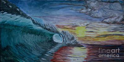 Hollow Wave At Sunset Art Print