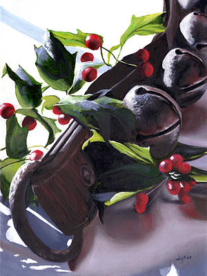 Holly Berry Still Life Painting - Holly And Bells by Christopher Lyter