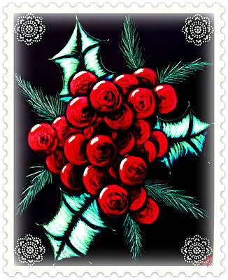 Cheers Mixed Media - Holly Berries by Christi Kuhner