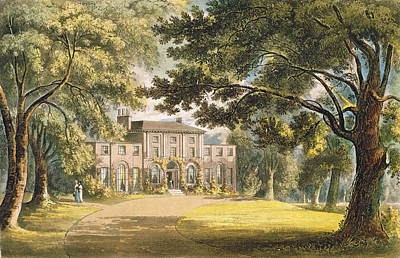 House Drawing - Holly Grove House, From Ackermanns by John Gendall