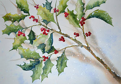 Painting - Holly In The Snow by Carol Bruno