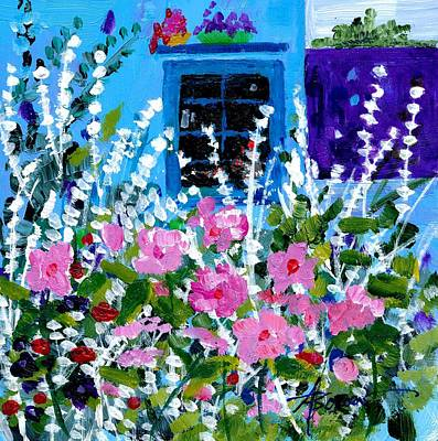Painting - Hollyhock Alley  by Adele Bower