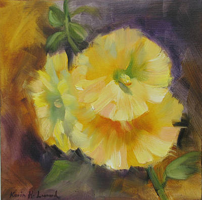 Stil Life Painting - Hollyhock Blooms by Karin  Leonard