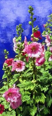 Hollyhock Haven Art Print by Ric Darrell