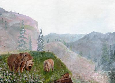 Hollyhocks And The Three Bears Art Print