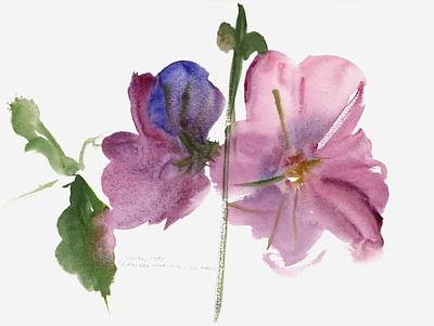 Water And Plants Painting - Hollyhocks by Claudia Hutchins-Puechavy