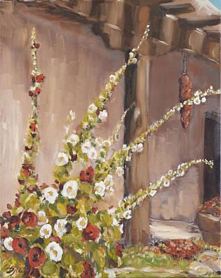 Painting - Hollyhocks by David  Llanos
