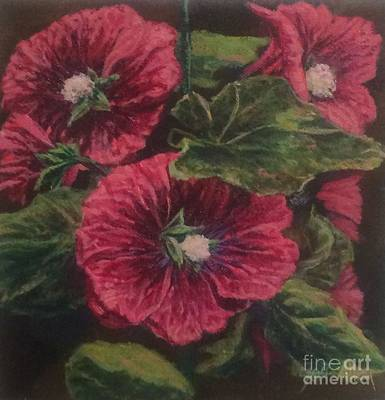 Red Hollyhocks Art Print