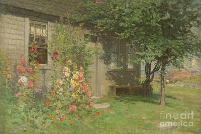 Window Bench Painting - Hollyhocks Nantucket by John Joseph Enneking