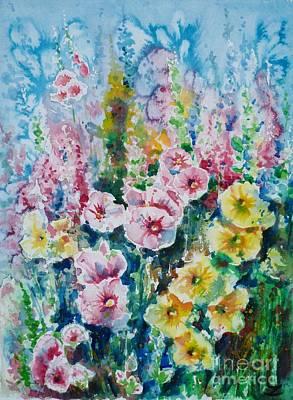 Painting - Hollyhocks  by Zaira Dzhaubaeva