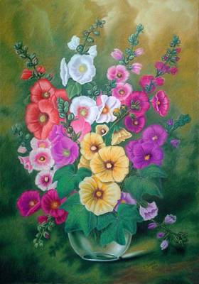 Pastel - Hollyhocks by Zdzislaw Dudek