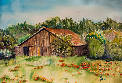 Painting - Holly's Barn by Lee Stockwell