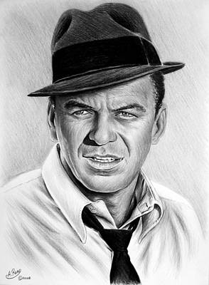 Famous Musician Drawing - Hollywood Collection Ole Blue Eyes by Andrew Read