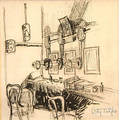Dressing Room Drawing - Hollywood Cowgirls' Dressing Room - 1939 by Art By Tolpo Collection