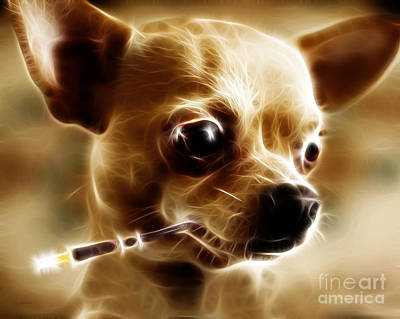Hollywood Fifi Chika Chihuahua - Electric Art Art Print by Wingsdomain Art and Photography