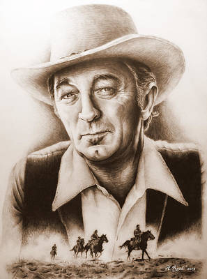 Hollywood Greats Mitchum Art Print by Andrew Read