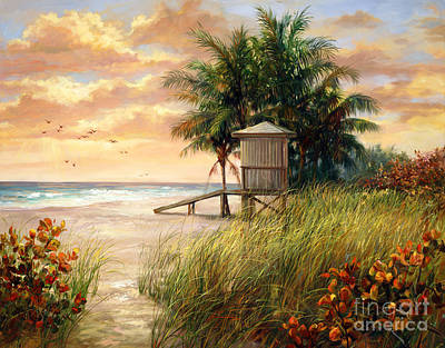 Florida Flowers Painting - Hollywood Life Guard Hut by Laurie Hein