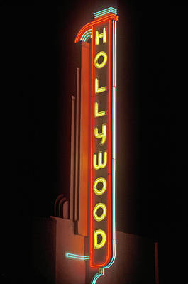 Hollywood Neon Sign At The Hollywood Art Print