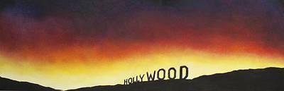 Hollywood On Fire Art Print by Christine  Webb
