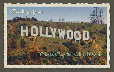 Hollywood Postcard Art Print by Bill Jonas