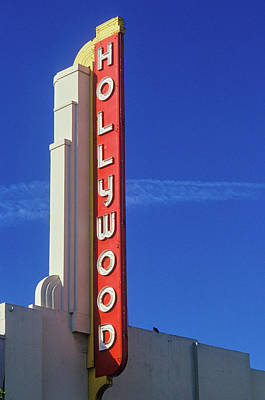 Hollywood Sign At The Hollywood Theater Art Print