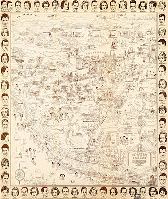 Fine Dining - Hollywood Star Map Golden Age Celebrities 1937 by MotionAge Designs