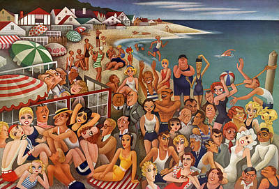 Bathing Suit Painting - Hollywood's Malibu Beach Scene by Miguel Covarrubias