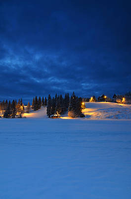 Snowy Night Photograph - Holmenkollen Blue by Aaron Bedell
