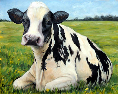 Cow Wall Art - Painting - Holstein Cow Relaxing In Field by Dottie Dracos