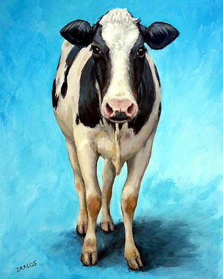 Cow Wall Art - Painting - Holstein Cow Standing On Turquoise by Dottie Dracos