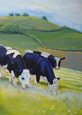 Tree Painting - Holstein Friesian Cows by Mike Jory