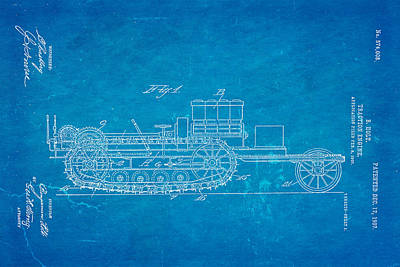 Holt Traction Engine Patent Art 1907 Blueprint Art Print