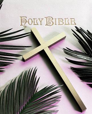 Holy Bible Gold Cross Palm Fronds Palm Art Print