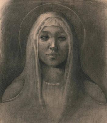 Smiling Jesus Drawing - Holy Bride by Gunnar Haslund
