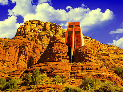 Grandview Digital Art - Holy Cross Chapel Coconino National Forest by Bob and Nadine Johnston