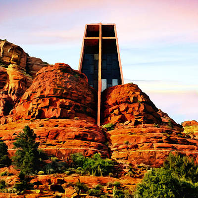 Painting - Chapel Of The Holy Cross Or Red Rock Chapel Sedona Arizona by Bob and Nadine Johnston