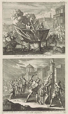 Boiler Painting - Holy Eulampia And Her Brother Are Boiled Alive In Oil by Jan Luyken And Barent Visscher And Jacobus Van Hardenberg