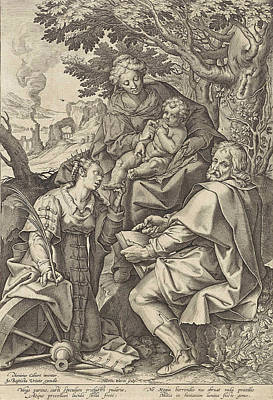 Holy Family, Accompanied By Catherine Of Alexandria Art Print by Hieronymus Wierix And Johannes Baptista Vrints (i)