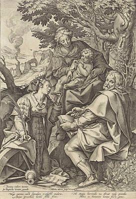Holy Family, Accompanied By Catherine Of Alexandria Art Print