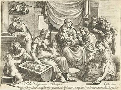 St Joseph Drawing - Holy Family, Bartholomeus Willemsz. Dolendo by Bartholomeus Willemsz. Dolendo And Claes Jansz. Visscher (ii)