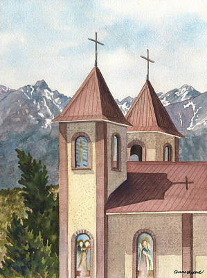 Painting - Holy Family Catholic Church In Fort Garland Colorado by Anne Gifford