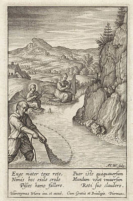 Children Sitting Drawing - Holy Family Fishing, Antonie Wierix IIi by Antonie Wierix (iii) And Hieronymus Wierix And Piermans