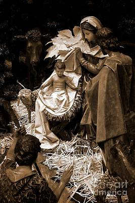 Frank J Casella Royalty-Free and Rights-Managed Images - Holy Family Nativity - Color Monochrome by Frank J Casella