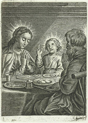 Holy Family Praying Before Meals Art Print by Schelte Adamsz. Bolswert And Peter Paul Rubens And Cornelis Galle Ii