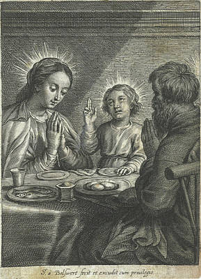 Prayer Drawing - Holy Family Praying Before Meals by Schelte Adamsz. Bolswert And Peter Paul Rubens